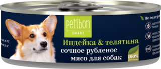Petibon Smart Рубленое мясо для собак с индейкой и телятиной 100гр